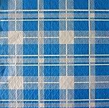 Tovaglie di carta - 100 tovaglie monouso cm. 100x100 - Fantasia scozzese blu e bianco - Tovaglie usa e getta ideali per feste, picnic, locali, tavole calde, ristoranti, pizzerie, trattorie, osterie, bar, pubs, paninoteche, birrerie, fast food e snack bar