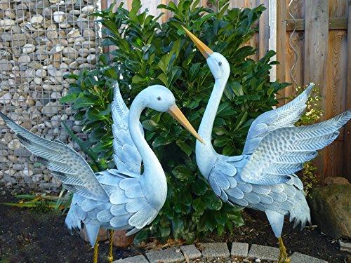 Gartenfigur 2er Set Kranich Metall Bunt Tier Vogel Teichdeko Teichfigur Garten Figur Teich Höhe 96cm+80cm Deko