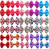 HOLLIHI 30pcs/15 Pairs Adorable Grosgrain Ribbon Pet Dog Hair Bows with Rubber Bands - Puppy Topknot Cat Kitty Doggy Grooming Hair Accessories Bow knots Headdress Flowers Set for Groomer