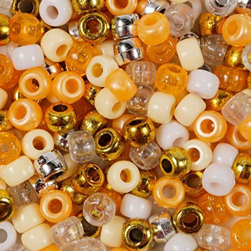 Tangerine Dream Pony Perlen Mix 200 Stück Gold Orange Perlen Größe 9 mm x 6 mm