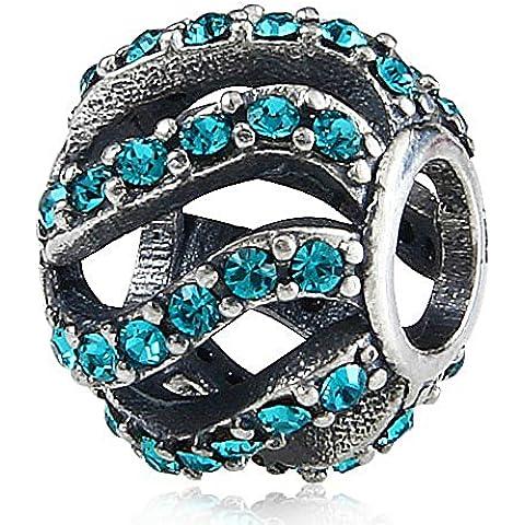 Con onda en forma de cristales de circonita transparente 925 de plata de ley para pulsera de seguridad europeo compatible con joyas Pandora