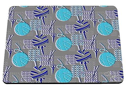 Hippowarehouse Pelote de laine à tricoter Motif imprimé Tapis de souris accessoire de base en caoutchouc Noir 240mm x 190mm x 60mm, Gris/bleu, taille unique
