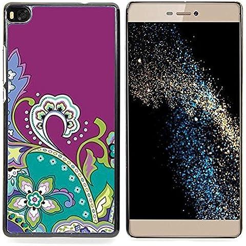 For Huawei Ascend P8 (Not for P8 Lite) Case , Disegno viola Fractal Flowers - Design Pattern Duro Staccabile Stile Telefono Cellulare Nuovo Caso Cover Guscio Duro