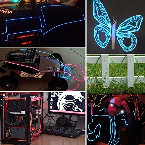 prezzo AUDEW 1M x 5 diversi colori Neon Wire EL ghirlanda cavo con brillante Elettroluminescente Mucchio Per Box sera, partito, Matrimonio, Automobile / Ditta (Bianco + Rosa + Rosso + Verde + Blu)