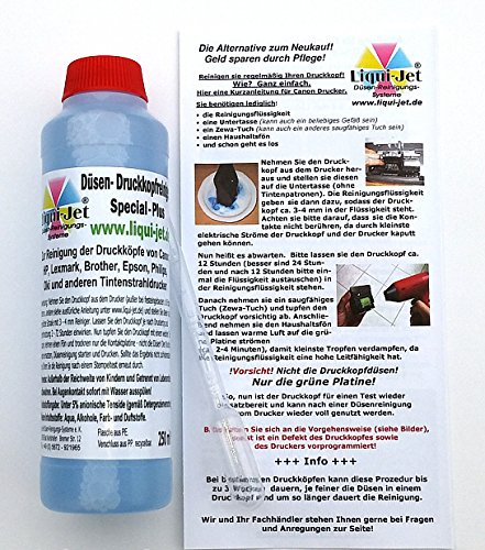 Liqui-Jet Düsenreiniger Druckkopfreiniger 250ml Special Plus für alle Tintenstrahldrucker von HP, Canon, Epson, Brother, Lexmark, Dell, Oki, Olivetti, Philips, Sharp, u.a. z.B. Pixma ip, MP, MX, MG, MG5150, MG5250, MG5550, MG5450, MG6150, MG6250, MG6350, MG6450, MG7150, IP7250, MG8150. Liqui-Jet MAREKENPRODUCKT!