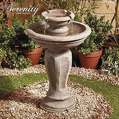 Solar Powered Water Feature Fountain Bird Bath Durable Stone Effect 2 Tier Cascade for Garden, Patio & Outdoor