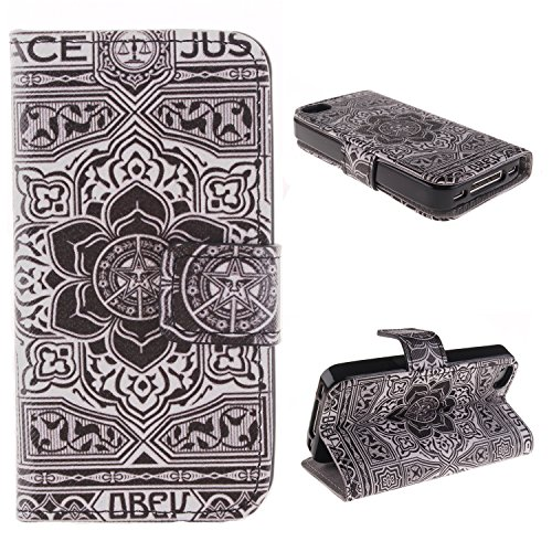 MCHSHOP(TM) Vielzahl von Mustern Book Style Design Leder Tasche Flip Case Cover Schutzhülle Etui Hülle Schale Für Apple IPhone 4 4S mit Kartensteckplätze Standfunktion - 1 Touch pen kostenlos (Löwenza Blumen Tribal Aztec (Flower Tribal Aztec)