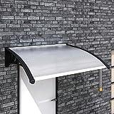 UnfadeMemory Marquesina para Puertas y Ventanas,Tejadillo de protección,Marquesina Toldo para Zonas Residenciales y Comerciales,Plástico (120x100cm, Negro)