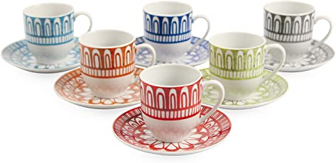 Villa d'Este Home Tivoli 2407769 Set di Tazzine da Caffè, Porcellana, Multicolore