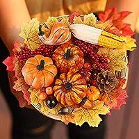 HAKACC Calabazas artificiales, 19 piezas de cosecha de frutas con 30 hojas de arce artificiales, calabazas falsas y conos de pino bellotas para Halloween y Acción de Gracias