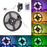 Sunnest Ruban LED 3528 RGB Etanche 5M Strip Light Multicolore 300 LED Télécommande Infrarouge 24 Touches + Adapteur + Alimentation 2A 12V