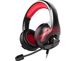 Cascos Auriculares, YINSAN Auriculares Gaming Estéreo da 3,5 mm Jack con Micrófono Flexible y Luz LED RGB, Cascos Gaming Prof