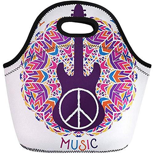 Lunch-Tasche,Hippie-Friedenssymbol-Liebes-Musik-Zeichen Und Gitarre Isolierte Thermische Picknick-Handtasche Für Reise, Schule, Draußen, Arbeit -