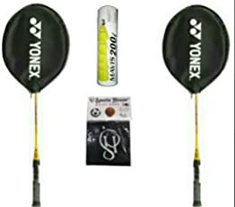 Yonex Gr 303 Badminton Racquet (pack of 2) and mavis 200i (pack of 6) with Sports house Wrist Band