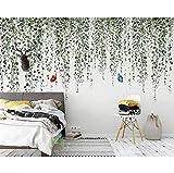Syssyj Romantische Rosafarbene Blumengarten Wind Fernsehhintergrundwandhauptdekoration Wohnzimmerschlafzimmer 3D-350X250CM