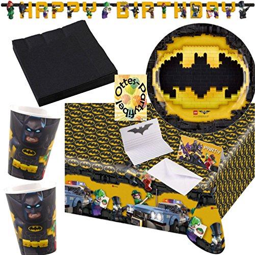 rtyset 70tlg. Teller Becher Servietten Tischdecke Einladung Girlande für 16 Kids (Lego Batman-dekorationen)