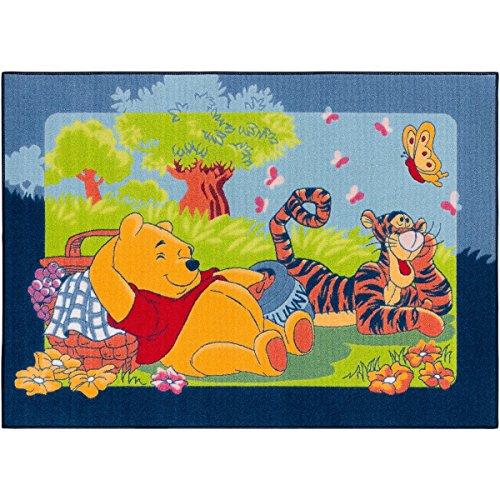 BilligerLuxus Teppich Winnie Pooh Picknick 95x133cm blau grün -