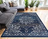 """Coverly Blue Beige Vintage Medallion Traditional Persian Oriental Area Rug 240 x 300 cm ( 7'10"""" x 9'10"""" ft ) Neutral Modern Shabby Chic Thick Soft Plush Shed Free"""