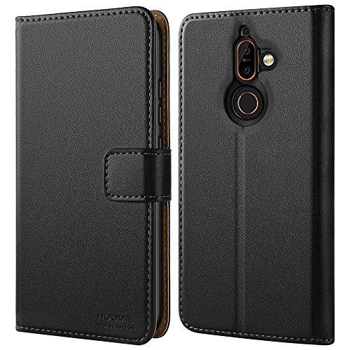 HOOMIL Nokia 7 Plus Hülle, Handyhülle Nokia 7 Plus Tasche Leder Flip Case Brieftasche Etui Schutzhülle für Nokia 7 Plus Cover - Schwarz (H3274)