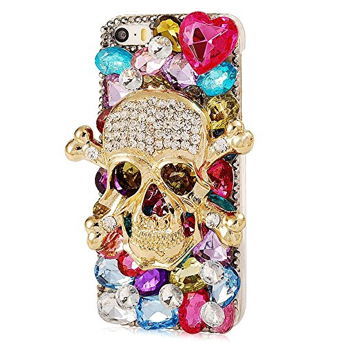 spritech (TM) Golden Skull Serie Luxus 3D Handgefertigt, Colorful Flower Bling Design klar hart Caver Fall, style-1, iPod Touch 5 (5 Touch Bling Ipod Fällen)