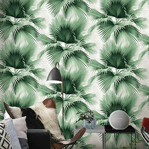 Foglie di palma blu e verde Carta da parati tropicale Rotolo Pianta naturale Giungla Carta da parati Camera da letto Soggiorno Sfondo 10 * 0.53 M, Verde