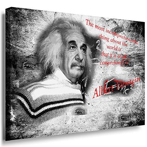 Julia-art Leinwandbilder - Albert Einstein Bild 1 teilig - 70 mal 50 cm Leinwand auf Rahmen - sofort aufhängbar ! Wandbild XXL - Kunstdrucke QN.03-3 (Einstein-bild)