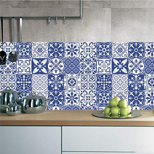 JY ART T Mediterranen Stil Blau Fliesen Aufkleber Küche Badezimmer Wohnkultur Wohnzimmer Schlafzimmer Boden Schrank Schublade Wandaufkleber 19, 20 * 100cm*5pcs -