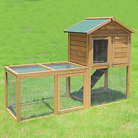 WOLTU® Hasenstall Kaninchenstall Wetterfest Kaninchenkäfig Hasenkäfig Kleintierstall aus Massivholz 160*60*110cm HT2023