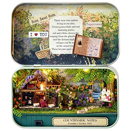 DIY Puppenhaus Mini Welt in Box,DIY Dollhouse Miniature Kit Handmade Xmas/Birthday Idea Gift Box Theater Haus mit LED Licht Geschenk Spielzeug für Kinder und Freunde -