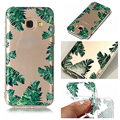 Samsung Galaxy A3 2017 Case, Samsung Galaxy A3 2017 Cover,Transparent Clear Soft TPU Gel Cover Protector Case for Samsung Galaxy A3 2017, Cozy Hut Crystal Clear TPU Case Soft Slim Anti-Scratches Shock Absorption Soft Silicone Back Colorful Printed Pattern Silicone Case Protective Cover Cell Phone Case for Samsung Galaxy A3 2017 ( A320F ) 4.7 Inch - Banana leaves