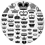 ZMYGH Round Rug Mat Carpet,Queen,Big Silhouette Crown Set Monarchy Imperial Ruler Icons Antique Ancient Vintage,Black and White,Flannel Microfiber Non-Slip Soft Absorbent,for Kitchen Floor Bathroom