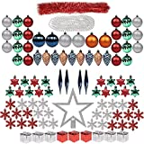 100ct Christmas Tree Decorations Full Set ITART Christmas Baubles Ornaments Assorted Ornaments Including Topper, Snowflakes, Beads, Tinsel, Mini Gife Boxes, Pine Cones, Teardrop (Multi Color)