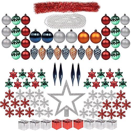 Decorazioni di albero di natale 100ct set completo itart ornamenti di natale baubles ornamenti assortiti inclusi topper, fiocchi di neve, perline, tinsel, mini boxes gife, pino coni, teardrop (multi c