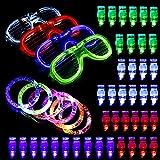 BASEIN Luminosas para Fiestas, 50 Luces LED Iluminan el Brillo del Juguete, 40 Luces LED para los Dedos, 6 Pulseras con Anillos de Luces LED y 4 Gafas de LED Luces de Gafas con Parpadeantes Fiesta