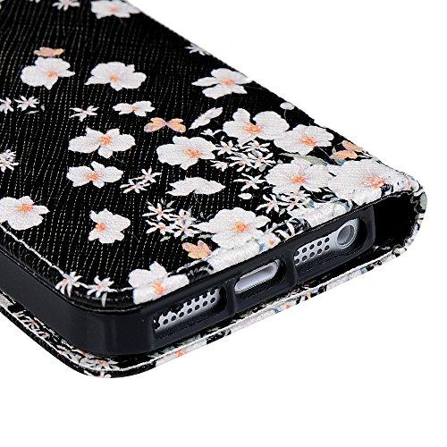 iPhone5/iPhoneSE Hülle,KASOS iphone5/iphoneSE Lite Case Bunt Gemalt Book Type PU Leder Tasche Cover Handyhülle Brieftasche Etui Handy Schutzhülle Ledertasche?Weiße Blumen Weiße Blumen
