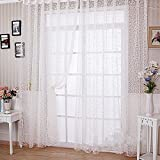 Best Home Fashion White Tie - Zibuyu Floral Tulle Voile Door Window Curtain White Review