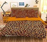 Bettwäsche-Set 134, 3D-Leopardenmuster, Gelb/goldfarben / Schwarz