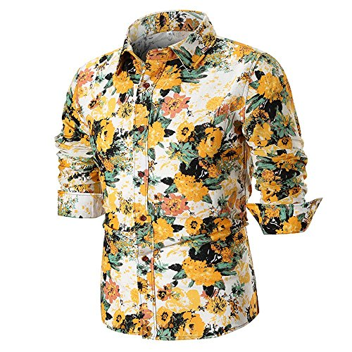 MRULIC Herren Shirt Kentkragen Langarm Shirts Businesshemd Freizeithemd Oktoberfest Karnevals kostüm(G-Gold,EU-54/CN-4XL) - White Knit Polo-t-shirt