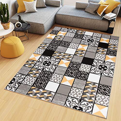 Tapiso Maya Teppich Wohnzimmer Kurzflor Gelb Grau Weiß Schwarz Geometrisch Modern Mosaik Karo Floral Streifen Schlafzimmer ÖKOTEX 250 x 300 cm -
