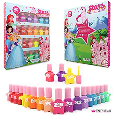 Stars 18 Nail Polish Water Based Peel Off 18 Different Colours Luxury Box No Acetone Plastic Bottles