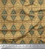 Soimoi Braun Poly Georgette Stoff Dreieck Art geometrisch
