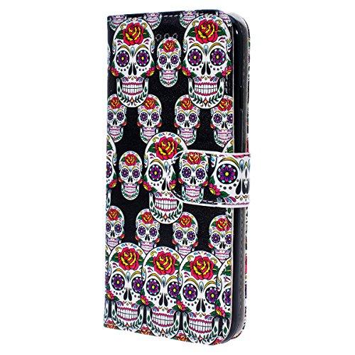 WE LOVE CASE Coque iPhone 6 Plus, Étui a Rabat de Protection Housse Coque iPhone 6S Plus Cuir, Coque avec Rabat Anti Choc Motif Fleur Girly Fonction Support Stand Fente Carte et Magnétique Fermeture S crâne