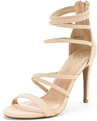 DREAM PAIRS Stiletti da Donna Cinturino alla Caviglia Tacchi Alti Sandali Punta Aperta Scarpe da Festa Show