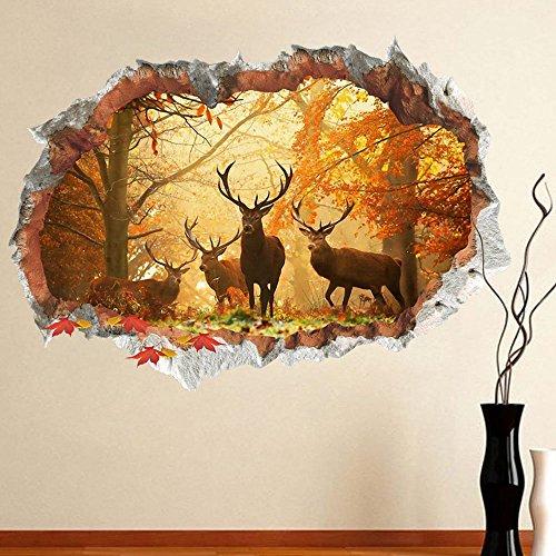 Ufengke home 3d adesivi da parete,cervo nella foresta adesivi murali,vista effetto 3d fuori dalla finestra decorazione rimovibili vinile diy stickers murali per soggiorno, camera da letto