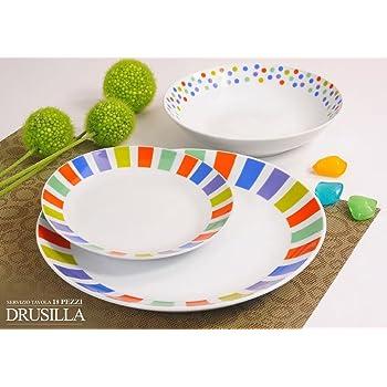 Offerta servizio piatti moderni da tavola colorati in ceramica di design completo per 6 persone - Servizio piatti design ...