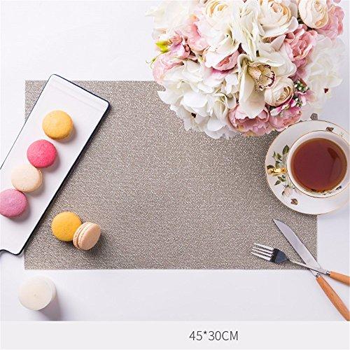 XXSZKAA Creative Geometry Stripe Table Mat Lavable Table Mat Imperméable Mat Isolant Coussin De Style Moderne Tressé Pvc Tapis De Table, Gris Clair 6 Pièces, 45 * 30Cm