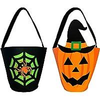 2 PCS Vliesstoff Halloween Süßigkeits Tasche,Spinnennetz Handtasche,Kürbis Sammeltasche,Halloween Süßes oder Saures Bags…