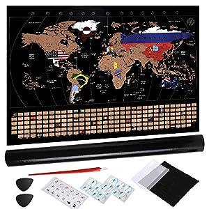 Anpro Weltkarte zum Rubbeln, Rubbel Weltkarte Rubbel Landkarte Weltkarte pinnwand zum Freirubbeln Poster inkl. Geschenkverpackung 80 x 58cm