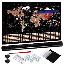 Anpro Mappa del Mondo da Grattare - 80x58cm Poster Mappa con Bandiera Nazionale Via i posti in Cui Viaggi, i Migliori Dettagli cartografici, Cartina Geografica Mappe per Scuola con Tubo, Idee Regalo