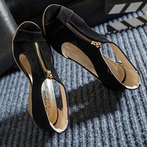 Saingace Frauen Sommer Casual Peep Toe Platform Wedges Sandalen Schuhe Schwarz